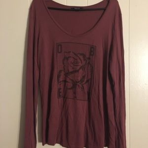 Obey Rose Maroon Long Sleeve Tee Size S
